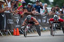 SCHAER Manuela, TSUCHIDA Wakako, SUI, JPN, Marathon, T54, 2013 IPC Athletics World Championships, Lyon, France