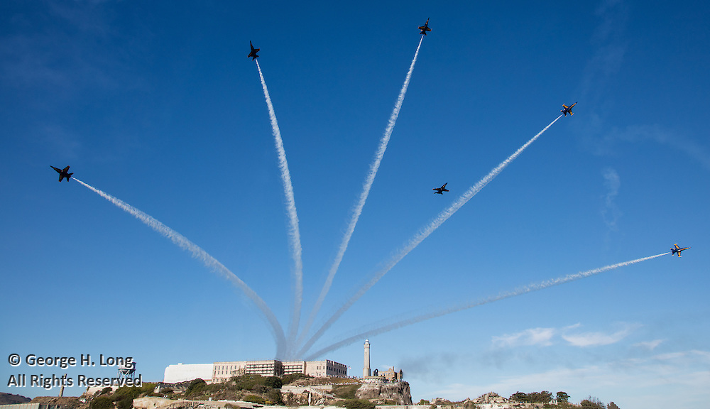The Blue Angels over Alcatraz during Fleet Week; San Francisco, California on October 8, 2016