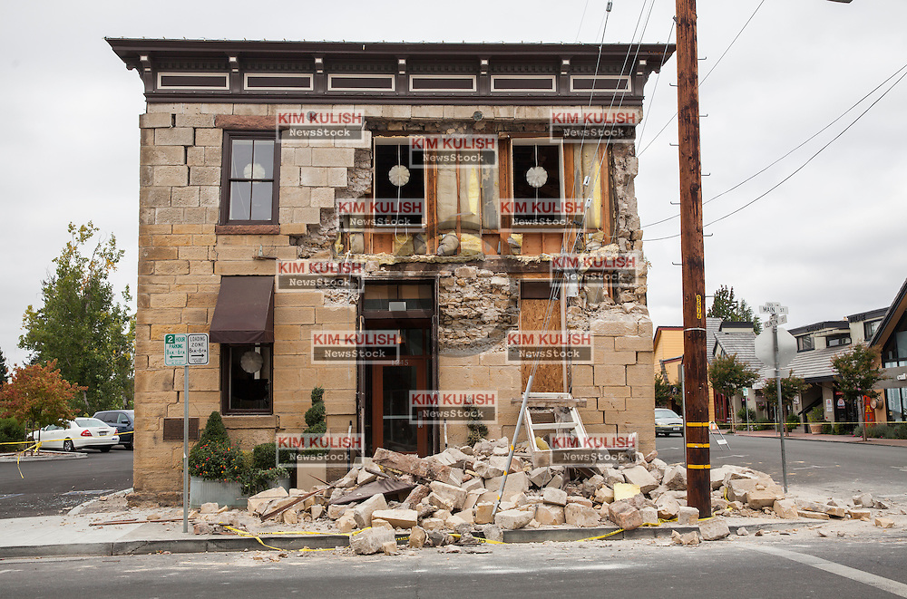 The Vintner's Collective, a wine tasting room,  was damaged in downtown Napa following the  6.0 earthquake that struck in southern Napa County on August 24, 2014.