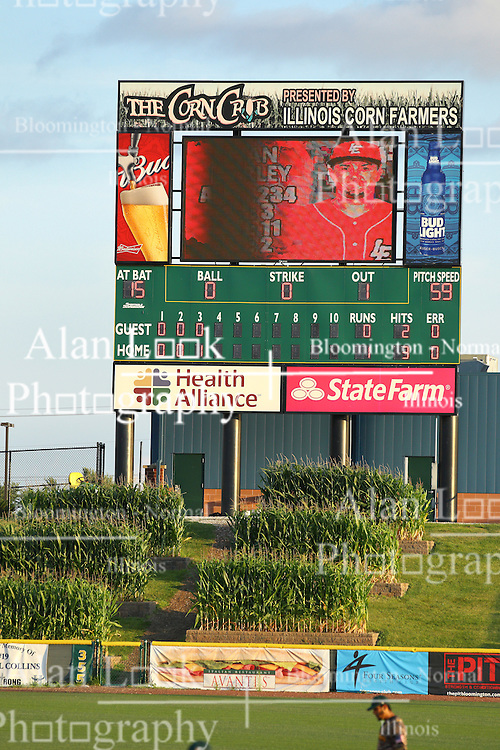 29 July 2016: CornCrib Stadium scoreboard during a Frontier League Baseball game between the Lake Erie Crushers and the Normal CornBelters at Corn Crib Stadium on the campus of Heartland Community College in Normal Illinois