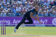 Tom Curran of England bowling during the third Royal London One Day International match between England and Pakistan at the Bristol County Ground, Bristol, United Kingdom on 14 May 2019.