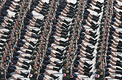 60219298 <br /> Photo taken on July 27, 2013 <br /> Soldiers march at a military parade in Pyongyang, the Democratic People s Republic of Korea (DPRK), July 27, 2013. DPRK held a military parade marking the 60th anniversary of the Korean War Armistice Agreement here on Saturday, the official KCNA news agency reported.<br /> Pyongyang, North Korea, <br /> Saturday, July 27, 2013<br /> Picture by imago / i-Images<br /> UK ONLY