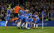 Brighton players celebrate Pascal Gross goal during the Premier League match between Brighton and Hove Albion and Manchester United at the American Express Community Stadium in Brighton and Hove. 04 May 2018