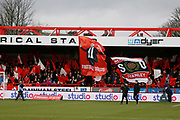 Accrington fans with banners during the The FA Cup fourth round match between Accrington Stanley and Derby County at the Fraser Eagle Stadium, Accrington, England on 26 January 2019.