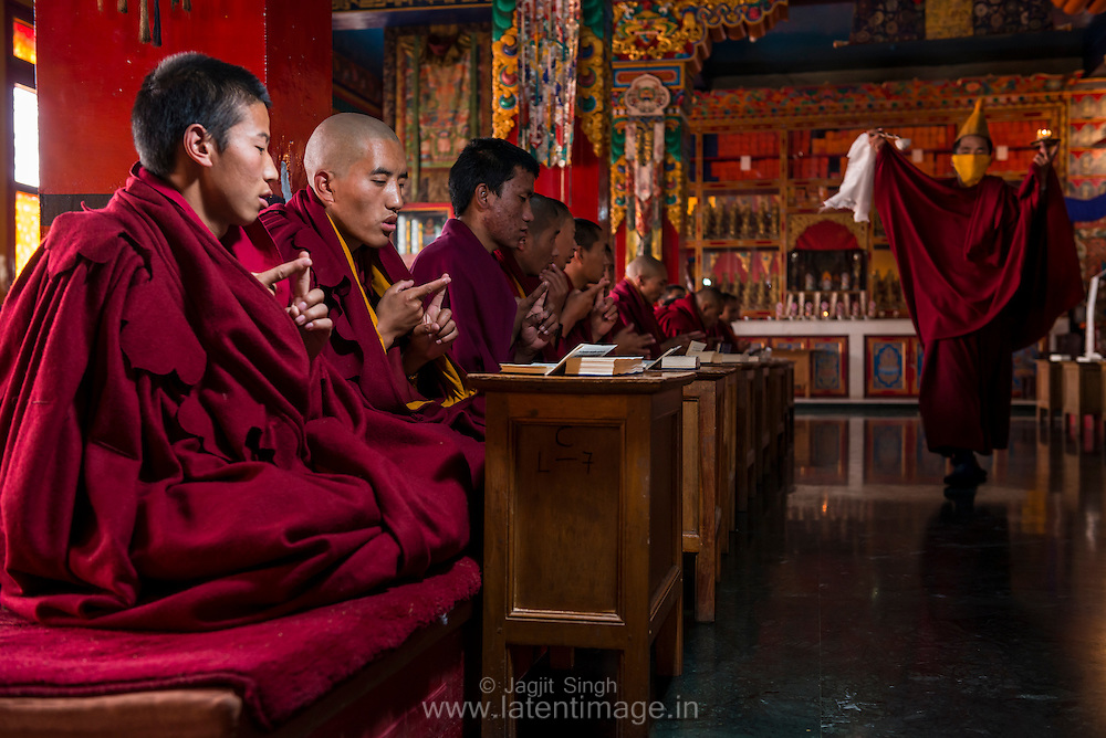 Prayer at Tibetan YungDrung Bon Monastery at Dolanji.