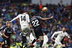 January 19, 2019 - Madrid, Madrid, Spain - Carlos H. Casemiro (Real Madrid) and Franco ''Mudo'' Vazquez (Sevilla FC) seen in action during the La Liga football match between Real Madrid and Sevilla FC at the Estadio Santiago Bernabéu in Madrid. (Credit Image: © Manu Reino/SOPA Images via ZUMA Wire)