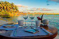Outdoor dining, Four Seasons Resort Bora Bora, French Polynesia.