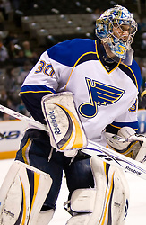 January 6, 2010; San Jose, CA, USA; St. Louis Blues goalie Ben Bishop (30) before the game against the San Jose Sharks at HP Pavilion. San Jose defeated St. Louis 2-1 in overtime. Mandatory Credit: Jason O. Watson / US PRESSWIRE