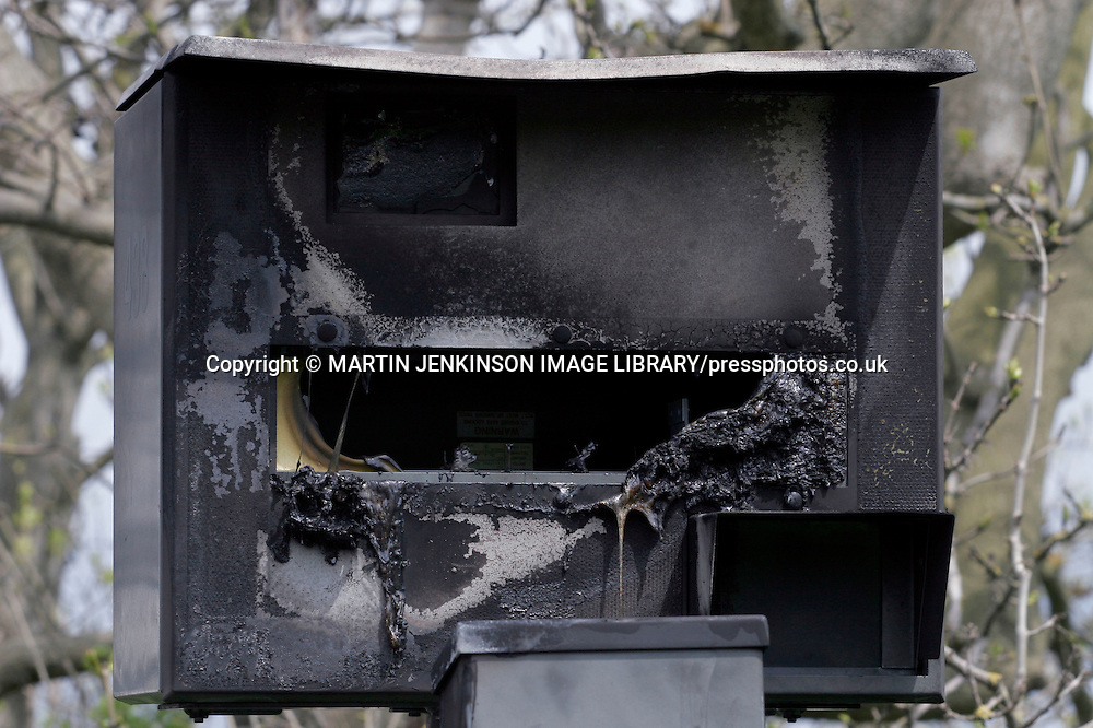 Vandalised Gatso speed camera damaged by fire ....