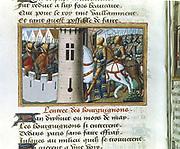 'Vigils of the Death of Charles VII'. Entry of the Burgundians into Paris, 1418. Martial of Paris called Auvergne (c1440-1508). Manuscript c1484.