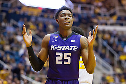 Feb 11, 2017; Morgantown, WV, USA; Kansas State Wildcats forward Wesley Iwundu (25) reacts to a call during the first half against the West Virginia Mountaineers at WVU Coliseum. Mandatory Credit: Ben Queen-USA TODAY Sports