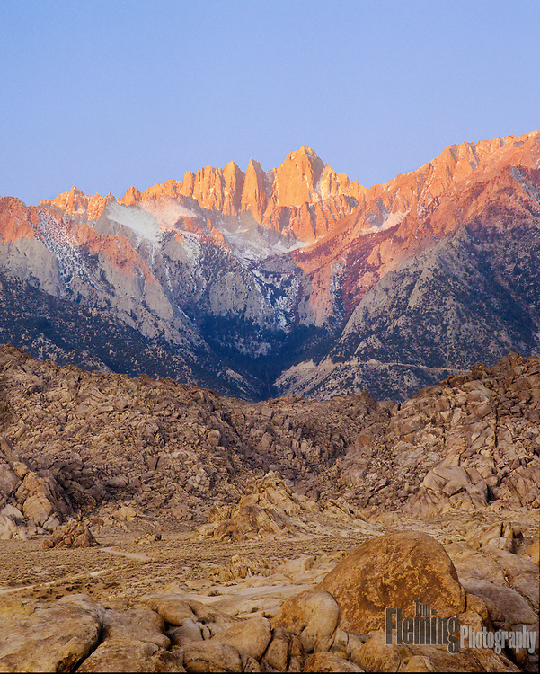 The summit of Mount Whitney glows with the first light of dawn.