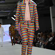 Designer Takato Wako the Best of Graduate Fashion Week showcases at the Graduate Fashion Week 2018, June 6 2018 at Truman Brewery, London, UK.