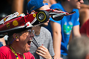 September 2, 2016: Ferrari fan at Monza yawning during FP1 , Italian Grand Prix at Monza