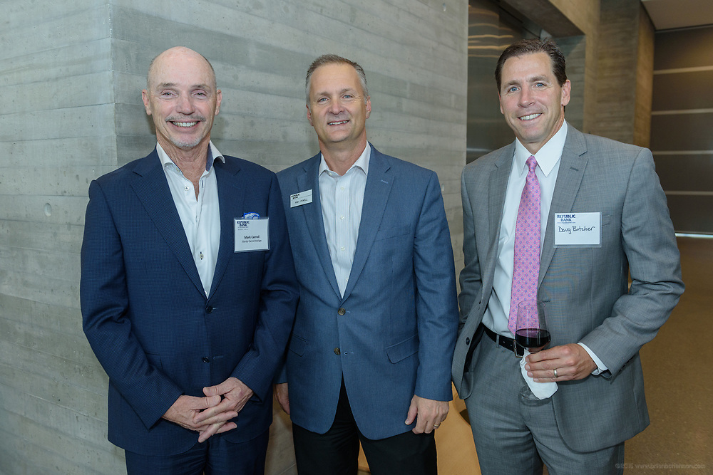 Mark Carroll, Andy Powell, Doug Butcher at the 10-year anniversary celebration of Republic Bank's Private Banking and Business Banking divisions Wednesday, May 17, 2017, at the Speed Art Museum in Louisville, Ky. (Photo by Brian Bohannon)