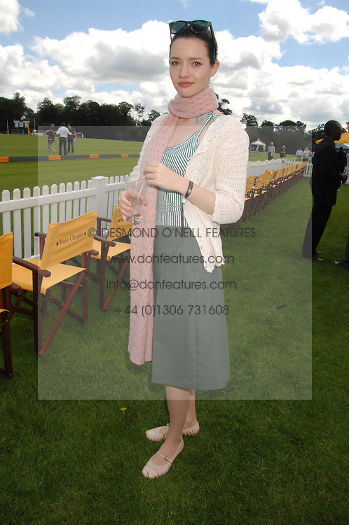 Actress TALULAH RILEY at the final of the Veuve Clicquot Gold Cup 2007 at Cowdray Park, West Sussex on 22nd July 2007.<br />