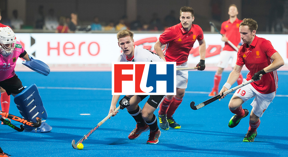 BHUBANESWAR - The Odisha Men's Hockey World League Final . Match ID 01 . Germany v England (2-0). Ferdinand Weinke (Ger) with David Goodfield (Eng)  .WORLDSPORTPICS COPYRIGHT  KOEN SUYK