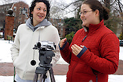 Lauren Malizia (left) and Elizabeth Berardi video a class project on campus on Monday 1/22/07.