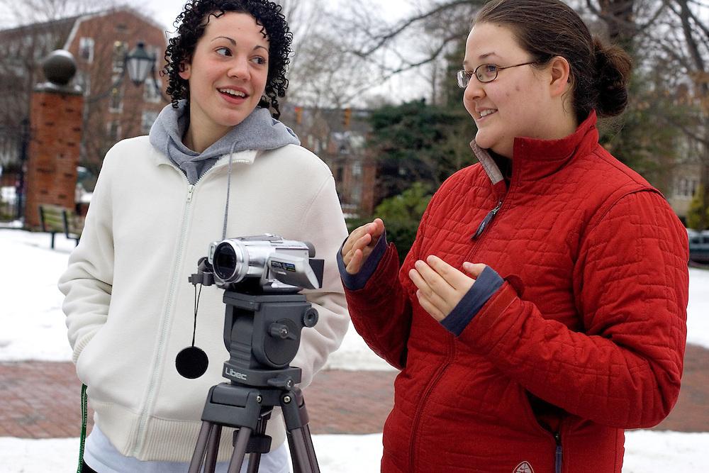 Lauren Malizia (left) and Elizabeth Berardi video a class project on campus on Monday 1/22/07.