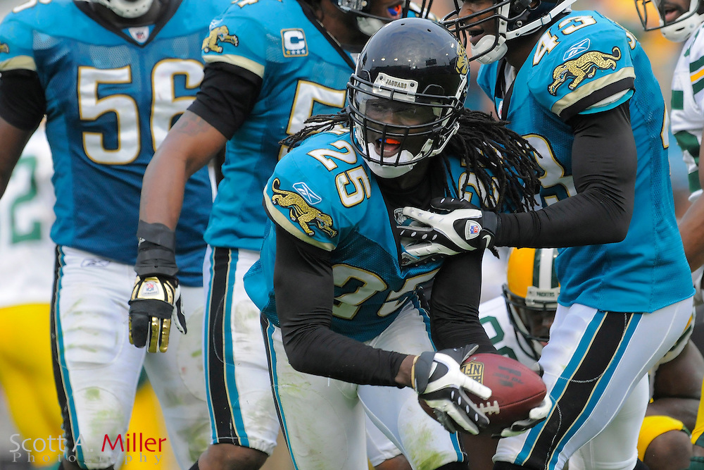 Jacksonville, FL. -- Jacksonville Jaguars defensive back Reggie Nelson (25) during the Jags game against the Green Bay Packers on Dec. 14, 2008 at Jacksonville Municipal Stadium....©2008 Scott A. Miller
