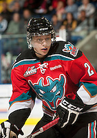 KELOWNA, CANADA - OCTOBER 3: Austin Glover #20 of the Kelowna Rockets skates against the Vancouver Giants at the Kelowna Rockets on October 3, 2012 at Prospera Place in Kelowna, British Columbia, Canada (Photo by Marissa Baecker/Getty Images) *** Local Caption *** Austin Glover;