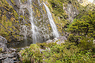 Waterfall on the Routeburn Track, South Island, New Zealand