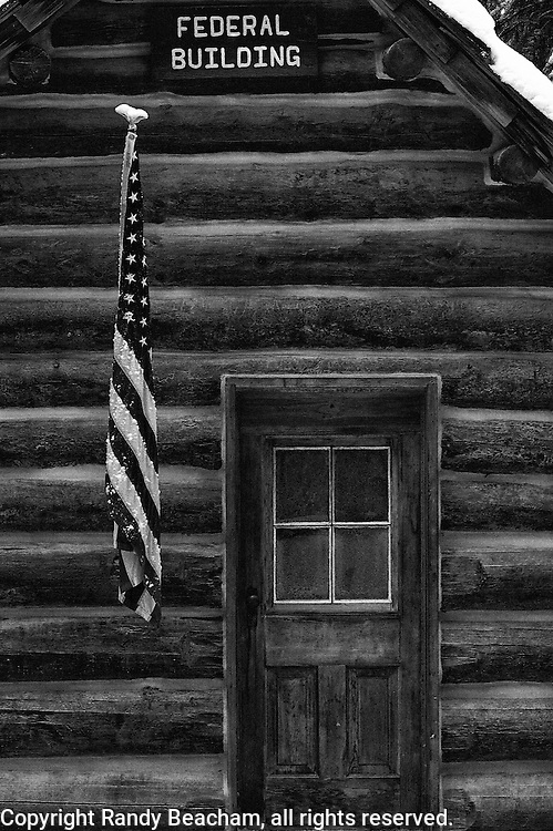 The Federal Building, a cabin at the last mail stop in the Yaak Valley where mail boxes are located. Yaak Valley Montana.