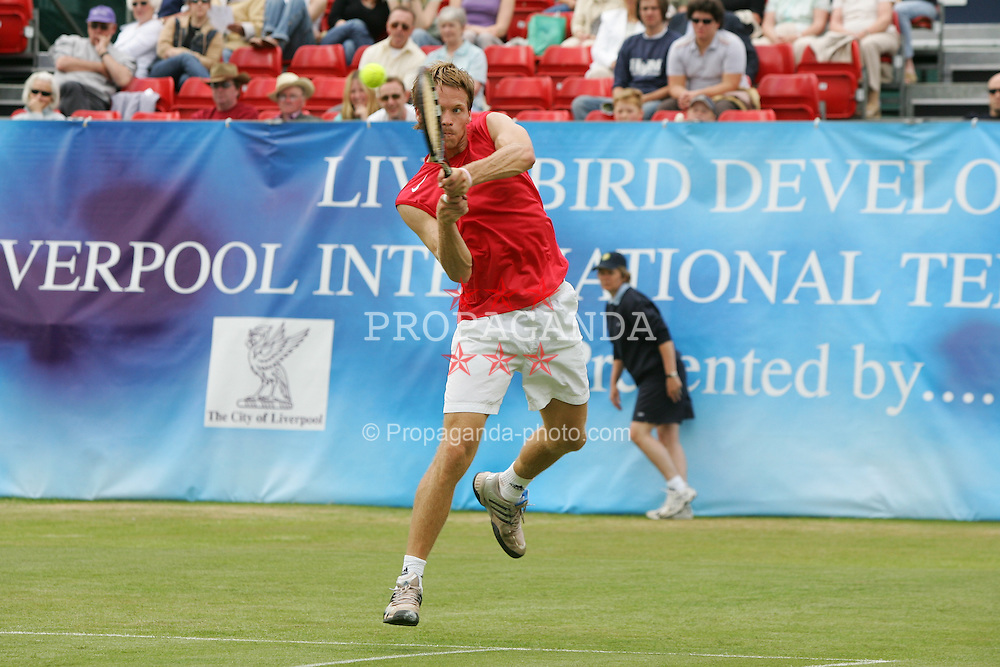 LIVERPOOL, ENGLAND - FRIDAY, JUNE 10th, 2005: Stian Boretti in action during the Liverbird Developments Liverpool International Tennis Tournament in Calderstones Park. (Pic by Dave Rawcliffe/Propaganda)
