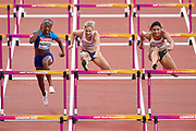 Great Britain, London - 2017 August 11: (C) Isabelle Pedersen from Norway competes in women&rsquo;s 100 meters hurdles semi final during IAAF World Championships London 2017 Day 8 at London Stadium on August 11, 2017 in London, Great Britain.<br /> <br /> Mandatory credit:<br /> Photo by &copy; Adam Nurkiewicz<br /> <br /> Adam Nurkiewicz declares that he has no rights to the image of people at the photographs of his authorship.<br /> <br /> Picture also available in RAW (NEF) or TIFF format on special request.<br /> <br /> Any editorial, commercial or promotional use requires written permission from the author of image.