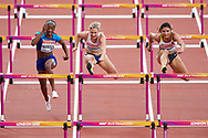 Great Britain, London - 2017 August 11: (C) Isabelle Pedersen from Norway competes in women's 100 meters hurdles semi final during IAAF World Championships London 2017 Day 8 at London Stadium on August 11, 2017 in London, Great Britain.<br /> <br /> Mandatory credit:<br /> Photo by © Adam Nurkiewicz<br /> <br /> Adam Nurkiewicz declares that he has no rights to the image of people at the photographs of his authorship.<br /> <br /> Picture also available in RAW (NEF) or TIFF format on special request.<br /> <br /> Any editorial, commercial or promotional use requires written permission from the author of image.