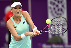 DOHA, Feb. 14, 2018  Agnieszka Radwanska of Poland returns the ball during the single's second round match against Petra Kvitova of Czech Republic at the 2018 WTA Qatar Open in Doha, Qatar, on Feb. 14, 2018. Petra Kvitova won 2-1.   wll) (Credit Image: © Nikku/Xinhua via ZUMA Wire)