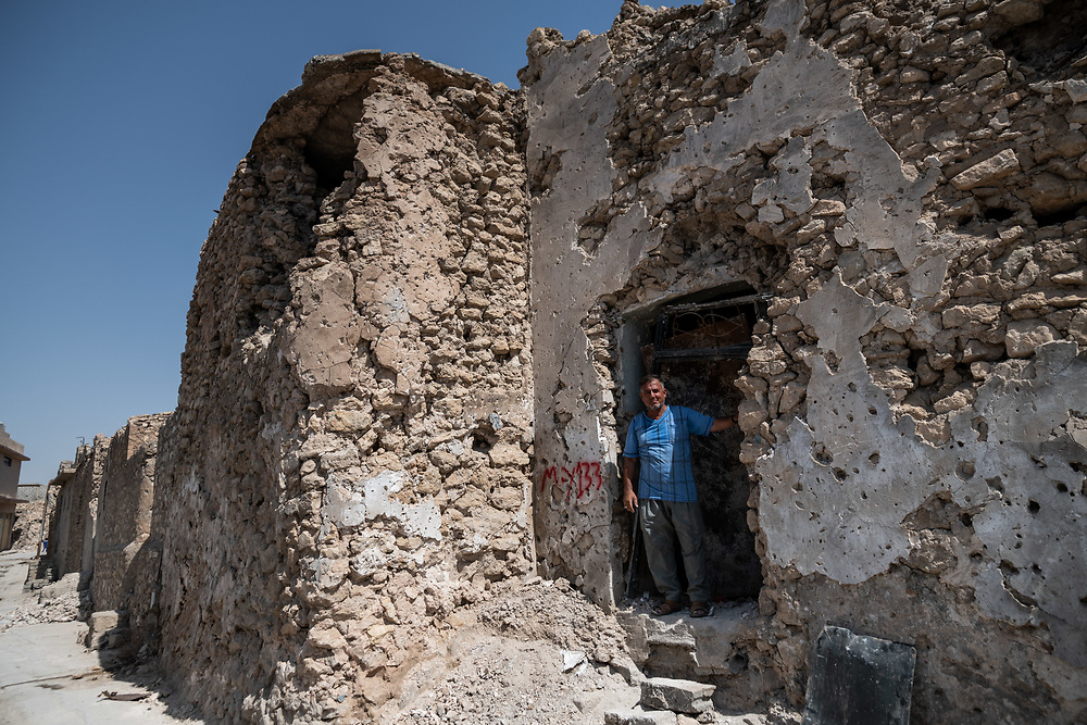 9 August 2018 – Mosul – Iraq – Father of four Youssef Shwbail, 59, is pictured outside his damaged home in the Myasa neighbourhood of Mosul's Old City. Shwbail's home is one of the houses that will be rehabilitated with the support of UNDP's Funding Facility for Stabilization (FFS). <br /> <br /> © UNDP Iraq / Claire Thomas