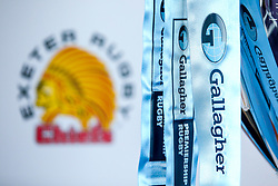 Exeter Chiefs crest at the launch of the 2018/19 Gallagher Premiership Rugby Season Fixtures - Mandatory by-line: Robbie Stephenson/JMP - 06/07/2018 - RUGBY - BT Tower - London, England - Gallagher Premiership Rugby Fixture Launch
