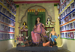 October 8, 2018 - Kolkata, West Bnegal, India - A Durga Puja pandal or temporary platform of a community puja was decorated with the theme on violence against women in society. (Credit Image: © Saikat Paul/Pacific Press via ZUMA Wire)