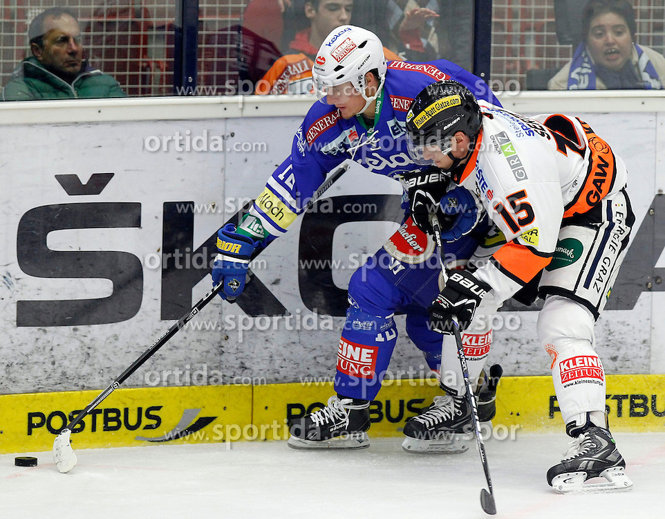 27.10..2013, Stadthalle, Villach, AUT, EBEL, EC VSV vs Moser Medical Graz99ers, 28. Runde, im Bild Daniel Nageler (VSV,#16) und Andy Sertich (Graz99ers,#15) // during the Erste Bank Icehockey League 28th round between EC VSV vs Moser Medical Graz99ers, at the City Hall, Villach, Austria, 2013/10/27, EXPA Pictures © 2013, PhotoCredit: EXPA/ Oskar Hoeher