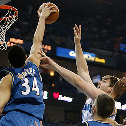 Mar 31, 2010; New Orleans, LA, USA; New Orleans Hornets center Aaron Gray (34) has his shot blocked by Washington Wizards center JaVale McGee (34) during the first half at the New Orleans Arena. Mandatory Credit: Derick E. Hingle-US PRESSWIRE