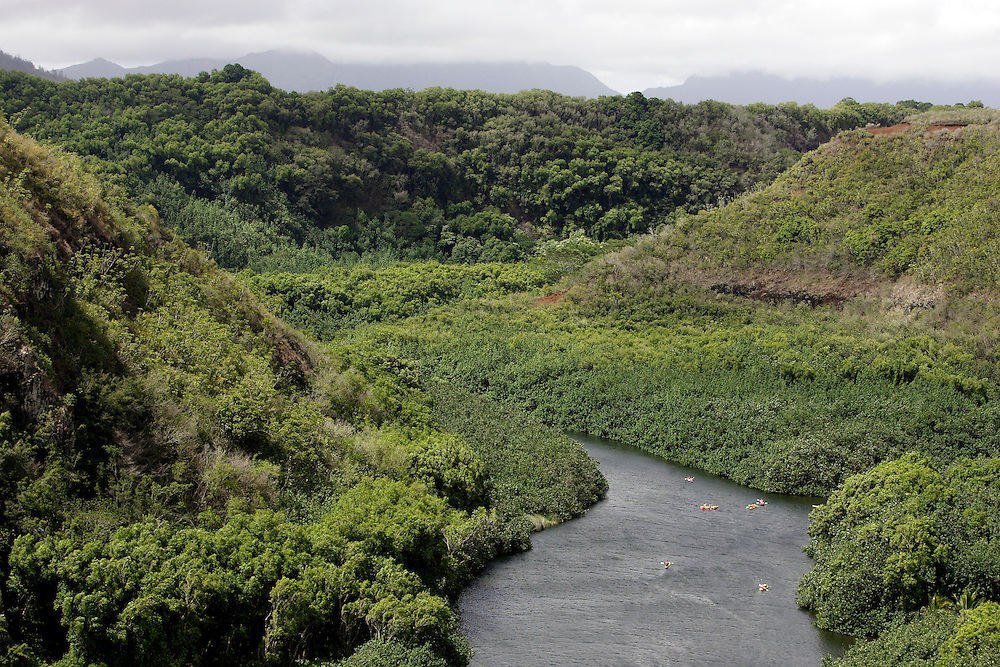 Wailua River winds it's way on the island of Kauai in Hawaii.
