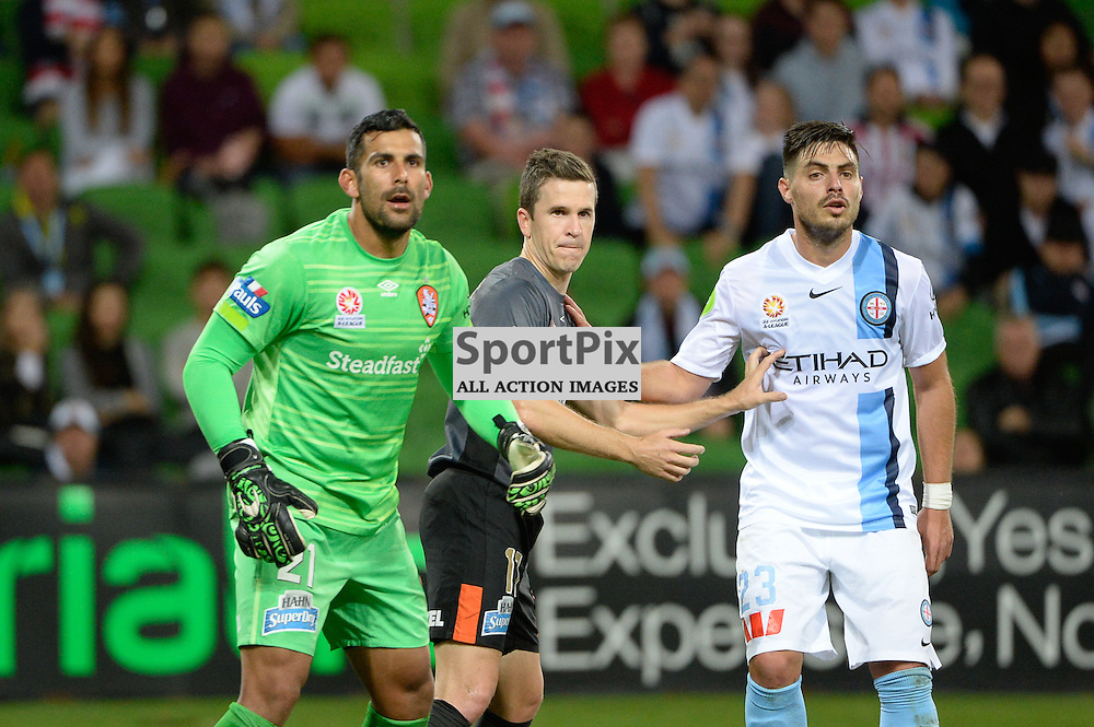 Jamie Young (GK) of Brisbane Roar FC, Jean Carlos Solorzano of Brisbane Roar FC, Bruno Fornaroli of Melbourne City wait for an Aaron Mooy kick from corner in the Hyundai A-League, March 18th 2016, ROUND 24 - Melbourne City FC v Brisbane Roar FC in a 3:1 win to City after a slow first half at Aami Park, Melbourne Australia. © Mark Avellino | SportPix.org.uk