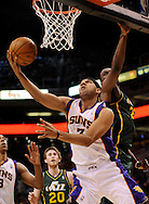Mar. 14, 2012; Phoenix, AZ, USA; Phoenix Suns forward Jared Dudley (3) puts up a shot against the Utah Jazz during the first half at the US Airways Center. Mandatory Credit: Jennifer Stewart-US PRESSWIRE.