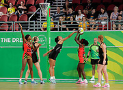 8th April 2018, Gold Coast Convention and Exhibition Centre, Gold Coast, Australia; Commonwealth Games day 4; Netball Malawi versus New Zealand Jane Chimaliro of Malawi shoots for goal as New Zealand Goal Keeper Temalisi Fakahokotau tries to block the shot