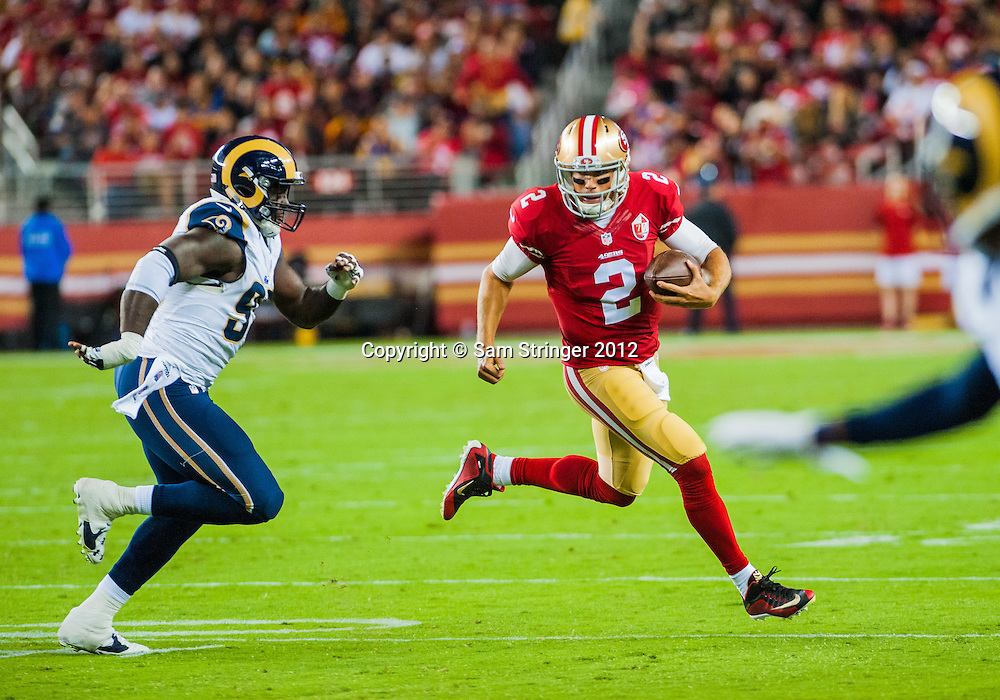 SEP 12,2016: San Francisco 49ers quarterback Blaine Gabbert (2) scrambles outside to gain yards on a play   during the regular season NFL  game between the San Francisco 49ers verses the Los Angeles Rams at Levi's Stadium in Santa Clara, CA. (Photo by Samuel Stringer/Icon Sportswire)