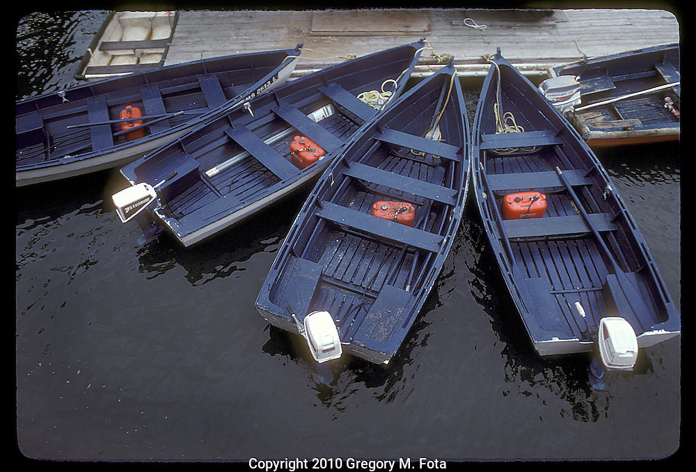Blue Boats at dock, Cape Cod,Massachusetts.
