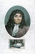 Anton von Leewenhoek (1632-1723) Dutch microscopist. Hand-coloured engraving c1810.