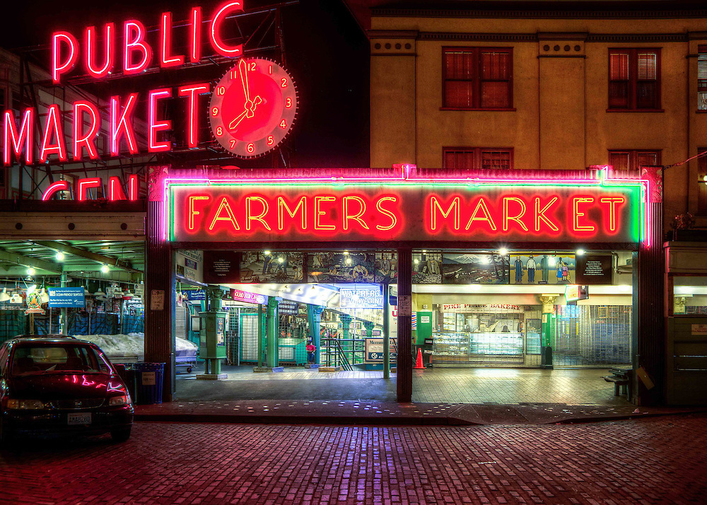 Farmers Market- Seattle Public Market photographed at night