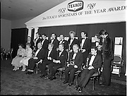 18/01/1981<br /> 01/18/1981<br /> 18 January 1981<br /> Texaco Sportsters awards at the Burlington Hotel, Dublin. Picture shows: Front row (l-r): Eileen Bell and Nal Allely, (bowls); Gearoid &Oacute; Colmain, (Boxing) Hall of Fame Award; An Taoiseach Dr Garret Fitzgerald TD; Tony Hill, Chairman and Managing Director, Texaco Ltd.; Paddy Coad, (Soccer) Hall of Fame Award and Tommy Byrne, (Motor Sports).<br /> Back row (l-r): Ger McKenna, (Greyhound Racing); Jack O'Shea, (Gaelic Football); Sean Kelly, (Cycling); Dermot Weld, (Horse Racing); Michael Cunningham (Horse Racing); Pat Delaney (Hurling); John Connolly (Hurling) and David Wilkins and Jamie Wilkinson, (Yachting).