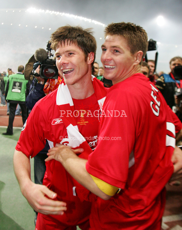 ISTANBUL, TURKEY - WEDNESDAY, MAY 25th, 2005: Liverpool's Steven Gerrard celebrates with Xabi Alonso after beating AC Milan on penalties during the UEFA Champions League Final at the Ataturk Olympic Stadium, Istanbul. (Pic by David Rawcliffe/Propaganda)