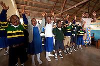 07 OCT 2009, MOSHI/TANZANIA:<br /> Kinder in Schuluniform in einer Schule in Moshi, ONE Informationsreise nach Tansania, Moshi / Kilimandscharo<br /> IMAGE: 20091007-01-071<br /> KEYWORDS: Reise, Trip, Afrika, Africa, Schueler, Schüler, Kind, Kinder, Bildung