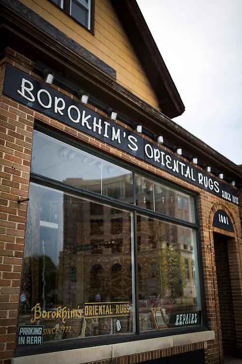 The front windows of Borokhim's Oriental Rugs on Monroe Street, Monday, April 24, 2017.