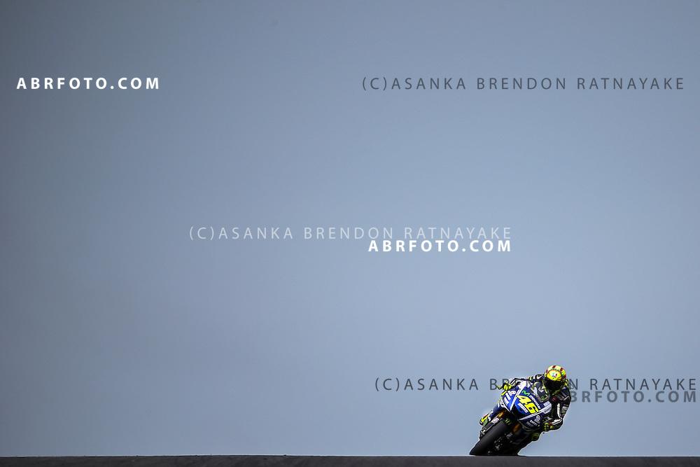 Valentino Rossi riding for Movistar Yamaha MotoGP approaches Lukey Heights corner during the 2014 MotoGP of Australia at Phillip Island Grand Prix Circuit in Phillip Island, Australia on the 19th of October 2014 Photo Asanka Brendon Ratnayake