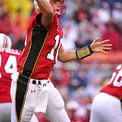 Sep 26, 2009; College Park, MD, USA; Maryland quarterback Chris Turner (10) throws a pass during the first half of Rutgers' 34-13 victory over Maryland in NCAA college football at Byrd Stadium.